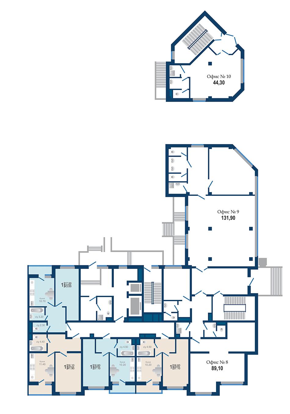 Литер 1.3. Подъезд 1. этаж 1