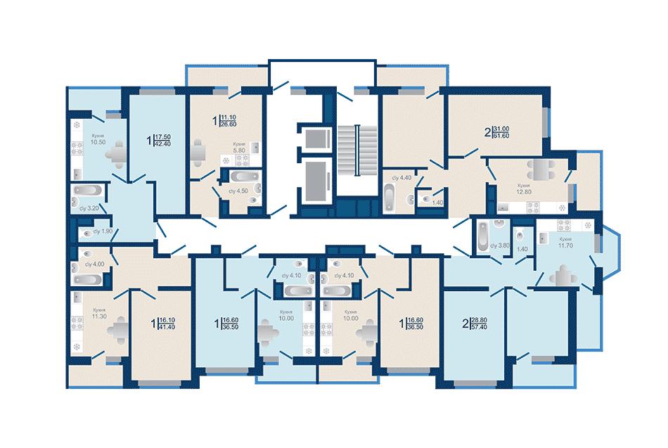 Литер 1.3. Подъезд 1. этажи 13-18