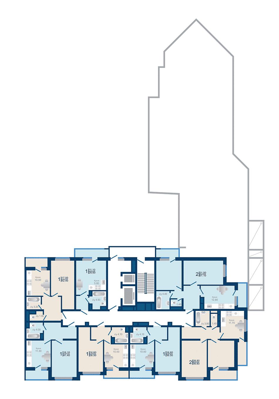Литер 1.3. Подъезд 1. этаж 3