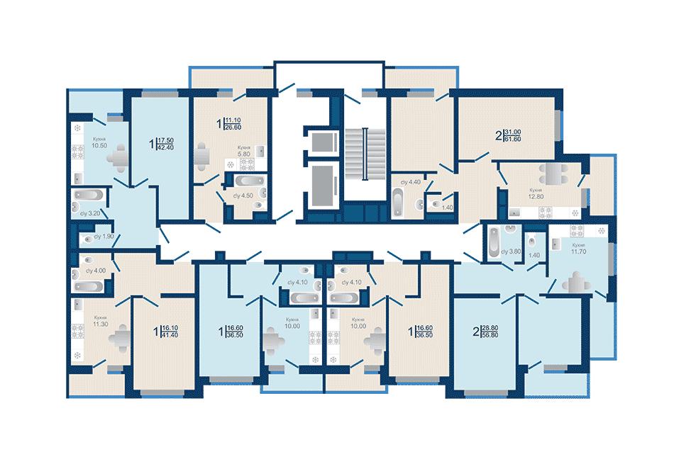Литер 1.3. Подъезд 1. этажи 4-12