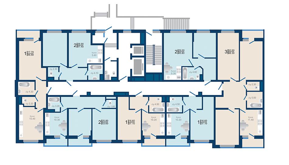 Литер 1.3. Подъезд 2. этаж 1