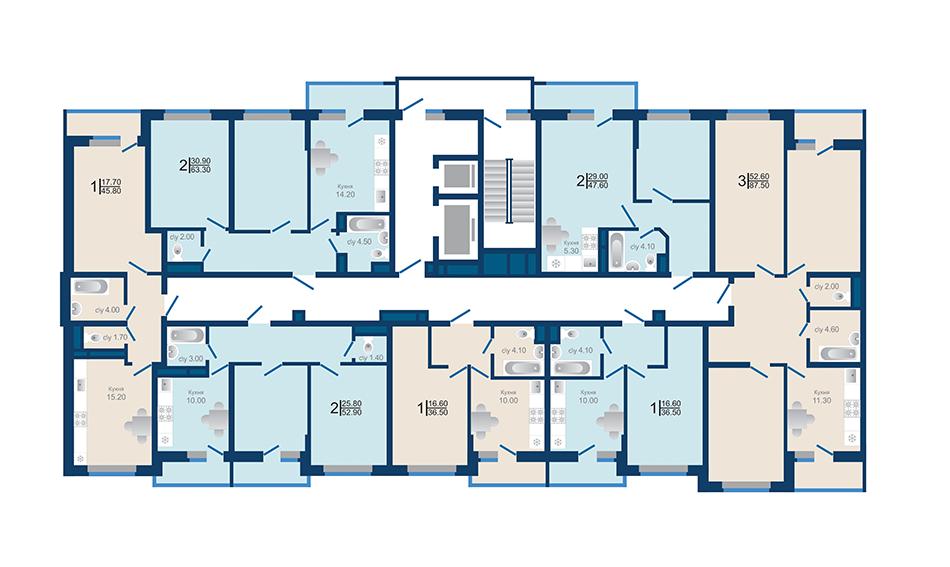 Литер 1.3. Подъезд 2. этажи 13-18