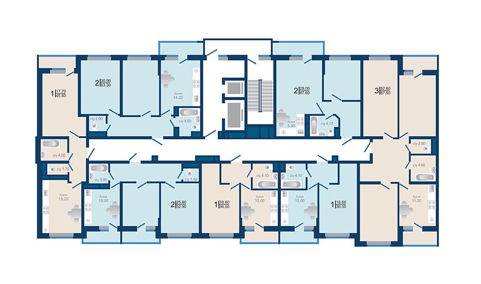 Литер 1.3. Подъезд 2. этажи 4-12