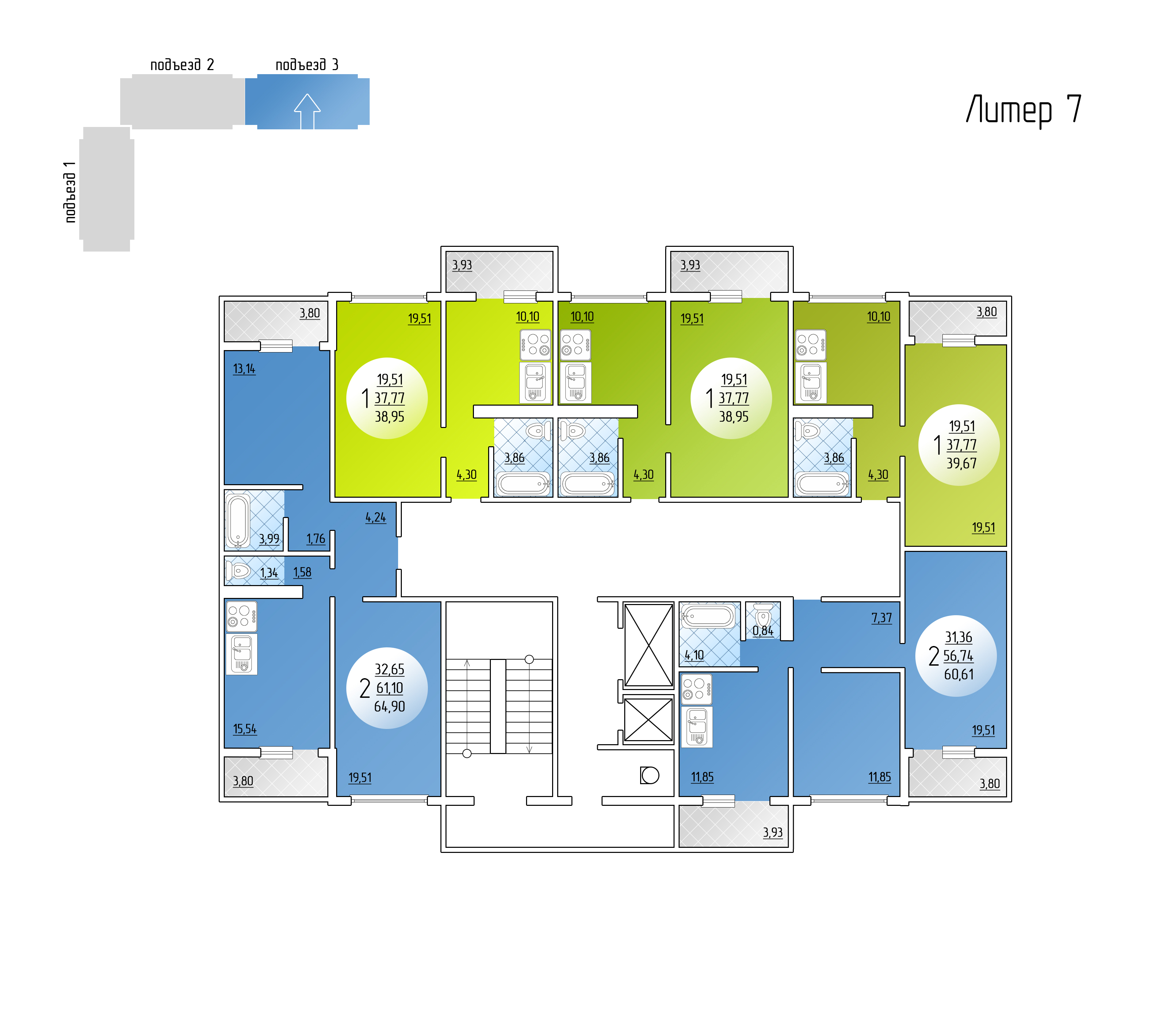 Подъезд 3. Типовой этаж